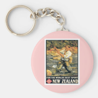 Vintage New Zealand Fishing Basic Round Button Keychain