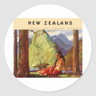Vintage New Zealand Round Sticker