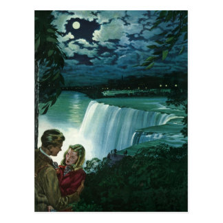 Vintage Newlyweds at Niagara Falls, Save the Date Postcard