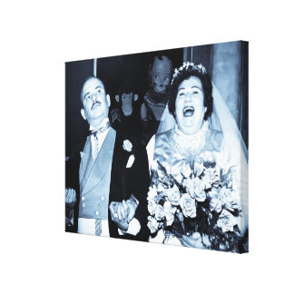 Vintage Newlyweds Just Married Canvas Print