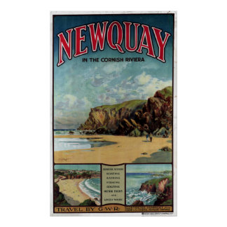 Vintage Newquay in the Cornish Riviera Travel Poster
