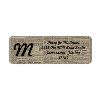 Vintage Newspaper 1902 Return Address Label