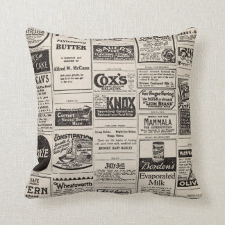 Vintage Newspaper Advertisement Farmhouse Pillow