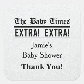Vintage Newspaper Baby Shower Favor Sticker