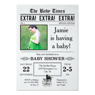 Vintage Newspaper Baby Shower Invitation
