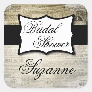Vintage Newspaper Bridal Shower Square Sticker