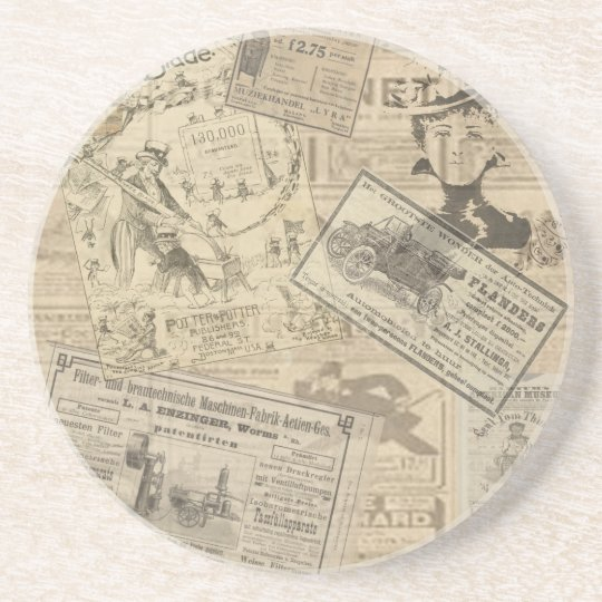Vintage newspaper coaster