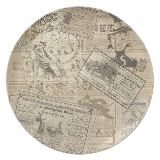 Vintage newspaper dinner plate