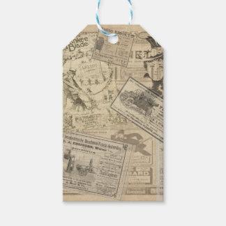 Vintage newspaper pack of gift tags