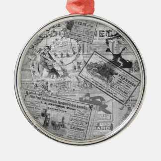 Vintage newspaper Silver-Colored round ornament