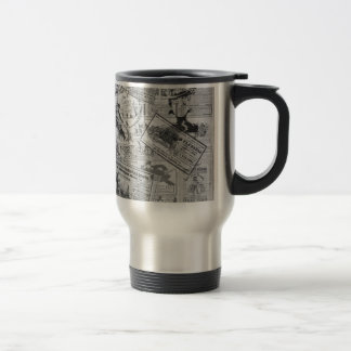 Vintage newspaper travel mug