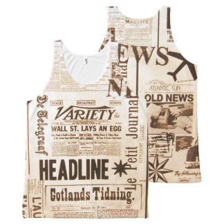 Vintage Newspaper Typography Old Ads News All-Over-Print Tank Top