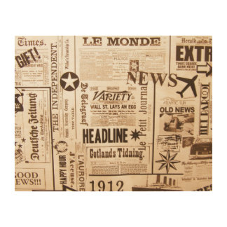 Vintage Newspaper Wood Wall Art