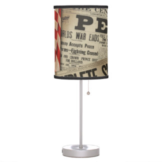 Vintage Newspaper WWII Peace  Lamp