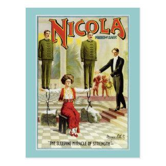 Vintage Nicola Magician Poster Postcard