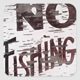 Vintage No Fishing Sign Square Sticker