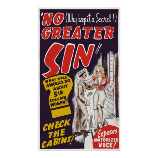 """Vintage """"No Greater Sin"""" Movie Poster"""
