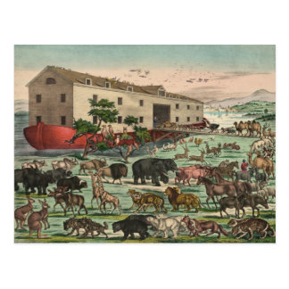 Vintage Noahs Ark Animals Illustration 1882 Postcard