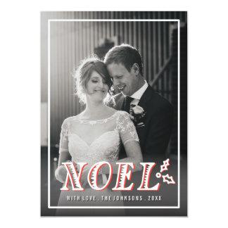Vintage Noel hand lettering full-bleed photo Card