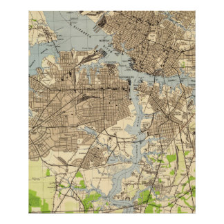 Vintage Norfolk & Portsmouth Virginia Map (1944) Poster