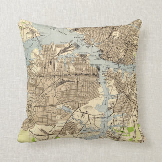 Vintage Norfolk & Portsmouth Virginia Map (1944) Throw Pillow