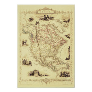 Vintage North America Map Poster