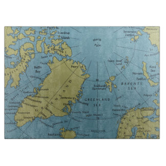 Vintage North Pole map chopping board