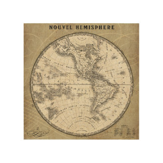 Vintage Northern Hemisphere Map Wood Print