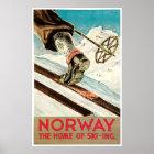 Vintage Norway Cross Country Ski Poster