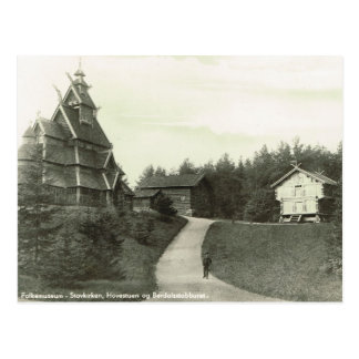Vintage Norway, Norwegian Folkmuseum, Stave Church Postcard