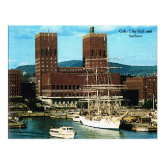 Vintage Norway,  Oslo City CHall and harbour Postcard