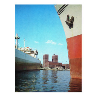 Vintage Norway,  Oslo, City Hall and harbour Postcard