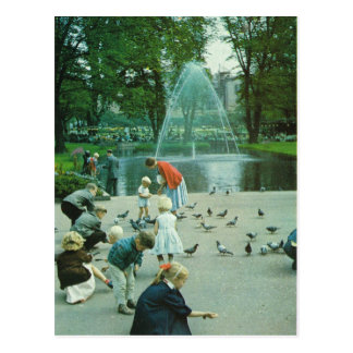 Vintage Norway,  Oslo, Pigeons in the park Postcard