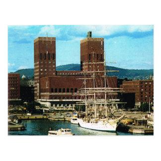 Vintage Norway, Oslo Town Hall, Harbour, 1956 Postcard