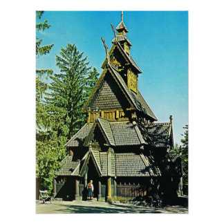 Vintage Norway, Stave Church Poster