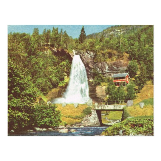 Vintage Norway, Steindalsfossen wterfall, Hardange Postcard