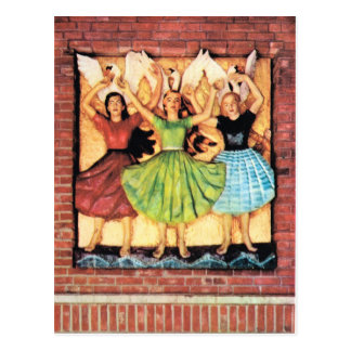 Vintage Norway, Wooden mural, Oslo Town Hall Postcard