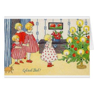 Vintage Norwegian Glad Jul Christmas Card