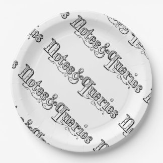 Vintage Notes And Queries Typograph 9 Inch Paper Plate