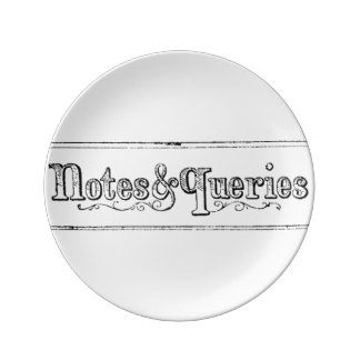Vintage Notes And Queries Typograph Porcelain Plate
