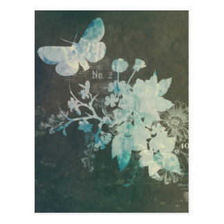 Vintage nouveau art floral girly grunge butterfly postcard