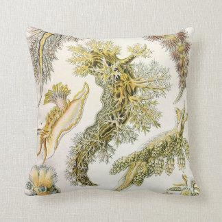 Vintage Nudibranchia, Sea Slugs by Ernst Haeckel Throw Pillow