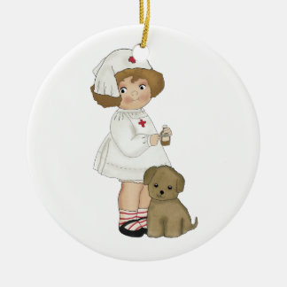 Vintage Nurse With Puppy T-shirts and Gifts Ceramic Ornament