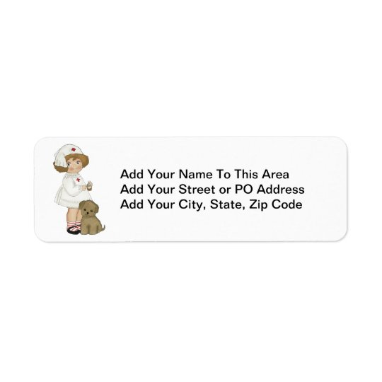 Vintage Nurse With Puppy T-shirts and Gifts Return Address Label