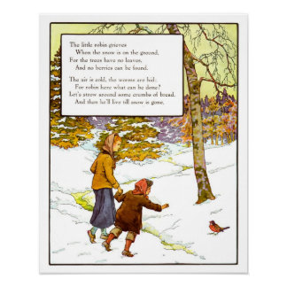 Vintage Nursery Print- The Little Robin Poster