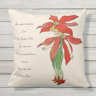 Vintage Nursery Rhyme Christmas Eve Poinsettia Kid Throw Pillow