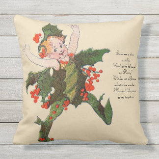 Vintage Nursery Rhyme Christmas Holly Funny Kid Outdoor Pillow