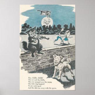 Vintage Nursery Rhyme Hey Diddle Diddle Poster