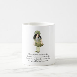 Vintage Nursery Rhyme Olive Food Cute Italian Girl Coffee Mug