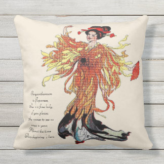 Vintage Nursery Rhyme Thanksgiving Chrysanthemum Outdoor Pillow